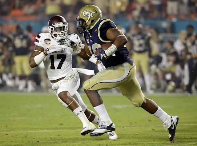 """<a class=""""link rapid-noclick-resp"""" href=""""/ncaaf/players/215349/"""" data-ylk=""""slk:Deontay Evans"""">Deontay Evans</a> (17) appeared in 39 games for Mississippi State over the past three seasons. (AP Photo/Wilfredo Lee)"""