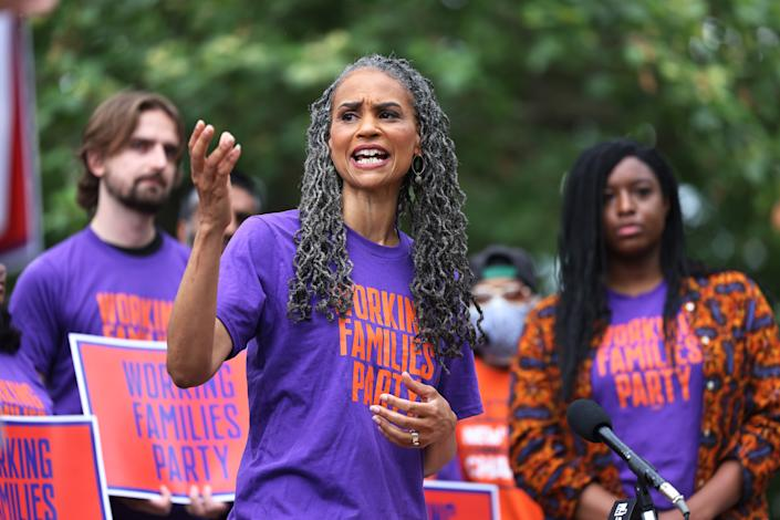 NYC Mayoral candidate Maya Wiley speaks during a New York Working Families Party GOTV Rally for their endorsed candidates in Fort Greene Park on June 11, 2021 in the Fort Greene neighborhood of Brooklyn borough in New York City. (Michael M. Santiago/Getty Images)
