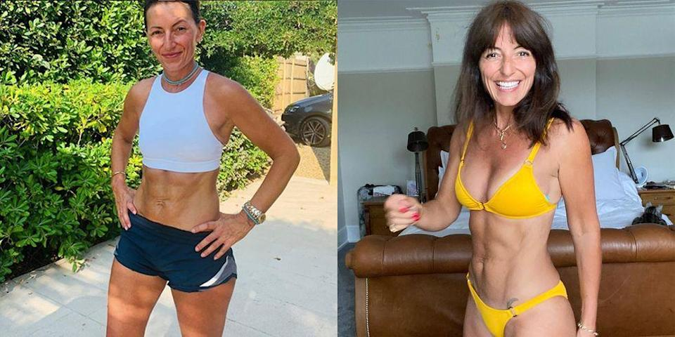 """<p>Davina McCall's workout routine is a testament to putting in the effort every single day. From running between meetings to walking her adorable dog Bo, working out with her <a href=""""https://www.womenshealthmag.com/uk/gym-wear/tech/g27279675/best-fitness-apps/"""" rel=""""nofollow noopener"""" target=""""_blank"""" data-ylk=""""slk:fitness app"""" class=""""link rapid-noclick-resp"""">fitness app</a> (Own Your Goals) and exercising when she really doesn't feel like it, DM is strong as hell. Mentally and physically. </p><p>Not only that but she's so bloomin' real about the whole thing. She sweats, celebrates and shares the highs and lows of her life, including how fitness has helped her deal with all of it. <a href=""""https://www.goodhousekeeping.com/uk/health/a34359579/davina-mccall-perimenopause-hrt-menopause/"""" rel=""""nofollow noopener"""" target=""""_blank"""" data-ylk=""""slk:Outspoken"""" class=""""link rapid-noclick-resp"""">Outspoken</a> about her HRT (hormone replacement therapy) experience, keeping her body moving and active has been one of the mainstays of her wellness routine as her body has changed. </p><p>'Previously, my """"keeping fit and healthy"""" was all about my body and making myself look hot in a bikini… and actually, now it's just about staying alive longer and being in the best possible position to beat anything should it come my way,' she <a href=""""https://www.womenshealthmag.com/uk/fitness/a35159446/davina-mccall-favourite-exercise/"""" rel=""""nofollow noopener"""" target=""""_blank"""" data-ylk=""""slk:told"""" class=""""link rapid-noclick-resp"""">told </a><a href=""""https://www.womenshealthmag.com/uk/fitness/a35159446/davina-mccall-favourite-exercise/"""" rel=""""nofollow noopener"""" target=""""_blank"""" data-ylk=""""slk:WH"""" class=""""link rapid-noclick-resp"""">WH</a>. </p><p>So, here's a healthy serve of <a href=""""https://www.womenshealthmag.com/uk/fitness/a706554/davina-mccall-fitness/"""" rel=""""nofollow noopener"""" target=""""_blank"""" data-ylk=""""slk:Davina McCall fitness"""" class=""""link rapid-noclick-resp"""">Davina McCall fitness</a> motivation, including """