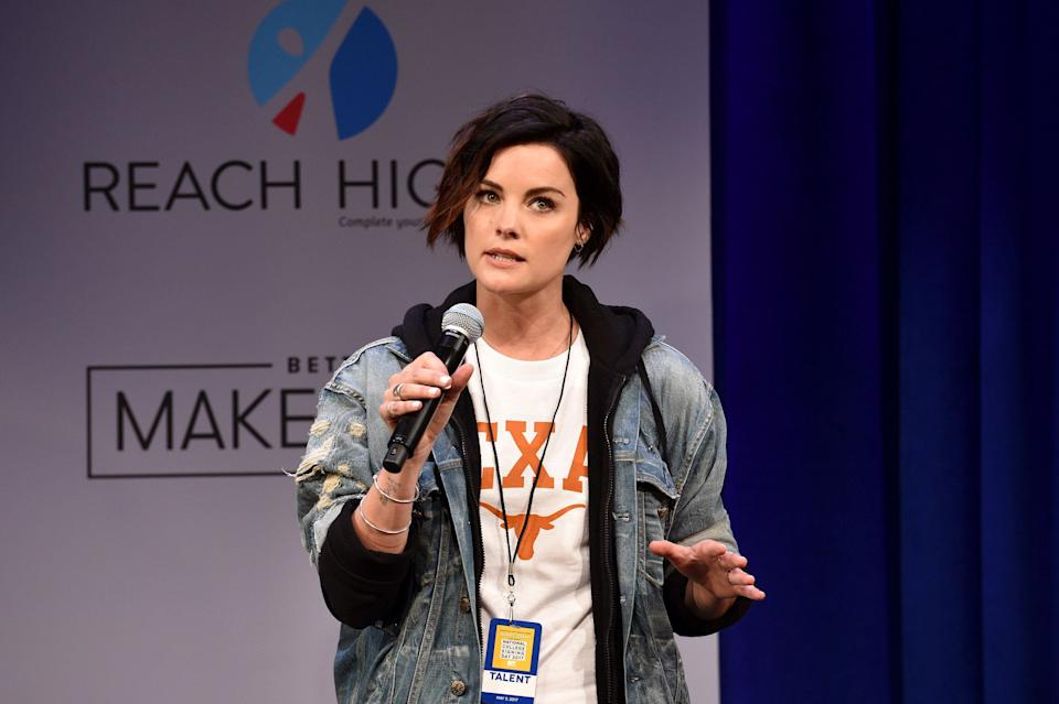 NEW YORK, NY - MAY 05:  Actress Jaimie Alexander speaks onstage during MTV's 2017 College Signing Day With Michelle Obama at The Public Theater on May 5, 2017 in New York City.  (Photo by Bryan Bedder/Getty Images for MTV)