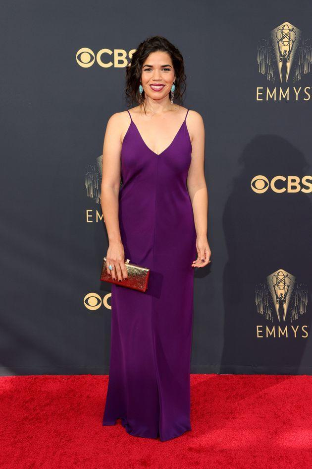 America Ferrera wears a sleek plum gown at the 73rd Primetime Emmy Awards at L.A. Live on Sunday in Los Angeles. (Photo: Rich Fury/Getty Images)