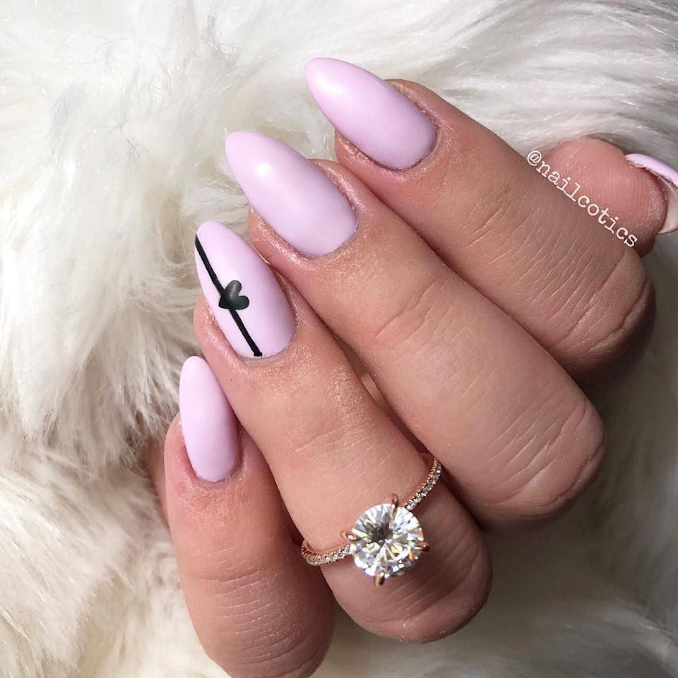 "<p>Are you newly engaged this February? (Or maybe you just adore your ring!) Show off your bauble with a pretty pastel and a delicate design.</p><p><strong>See more from <a rel=""nofollow"" href=""https://www.instagram.com/p/BhMgurZBINv/"">@nailcotics</a>.</strong></p>"