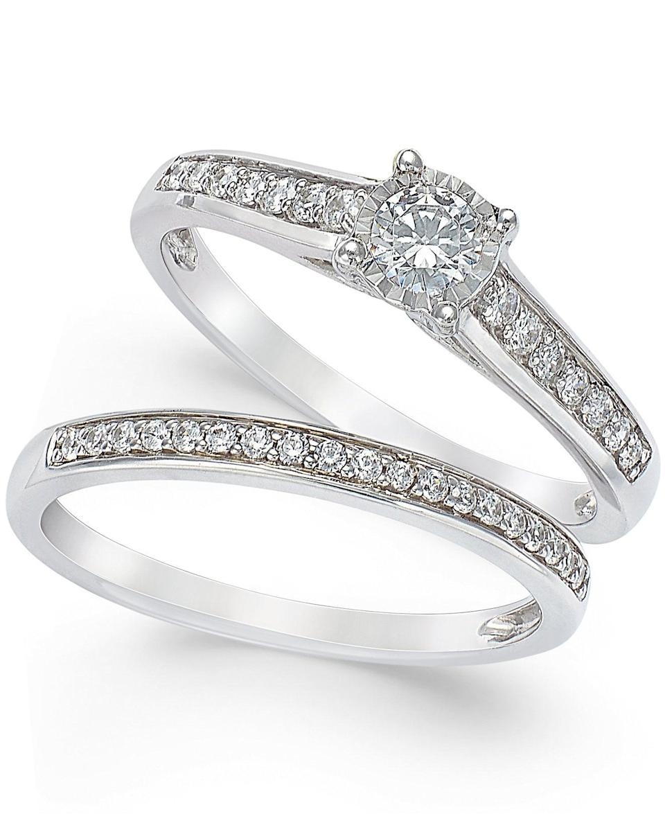 <p>We don't mind this matchy-matchy <span>TruMiracle Diamond Engagement Ring and Wedding Band Set</span> ($1,499).</p>