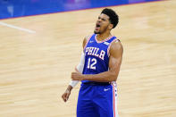 Philadelphia 76ers' Tobias Harris reacts after making a basket during the second half of Game 5 in a first-round NBA basketball playoff series against the Washington Wizards, Wednesday, June 2, 2021, in Philadelphia. (AP Photo/Matt Slocum)