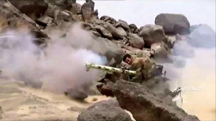 A Huthi fighter in Yemen appears to fire an anti-tank missile in footage broadcast in September 2019 by Ansarullah television (AFP Photo/-)