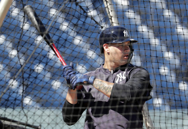 In this Feb. 14, 2019, photo, New York Yankees catcher Gary Sanchez bats at the New York Yankees spring training baseball facility in Tampa, Fla. The New York Yankees open the season with likely baseball's most accomplished injured list. Still, the Yankees have among the most formidable batting orders in the major leagues, a power plant that includes Sanchez, Giancarlo Stanton and Aaron Judge. (AP Photo/Lynne Sladky)