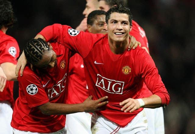 Ronaldo (right) celebrates his stoppage-time winner against his old club Sporting Lisbon in 2007 (Martin Rickett/PA).