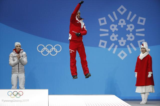 Medals Ceremony - Nordic Combined Events - Pyeongchang 2018 Winter Olympics - Men's Individual 10km - Medals Plaza - Pyeongchang, South Korea - February 15, 2018 - Bronze medalist Lukas Klapfer of Austria on the podium. REUTERS/Kim Hong-Ji