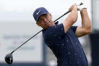 Paul Casey, of England, plays his shot from the 18th tee during the third round of the U.S. Open Golf Championship, Saturday, June 19, 2021, at Torrey Pines Golf Course in San Diego. (AP Photo/Marcio Jose Sanchez)
