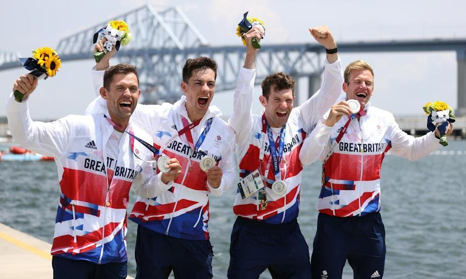 Jack Beaumont, Angus Groom, Tom Barras and Harry Leask celebrate silver