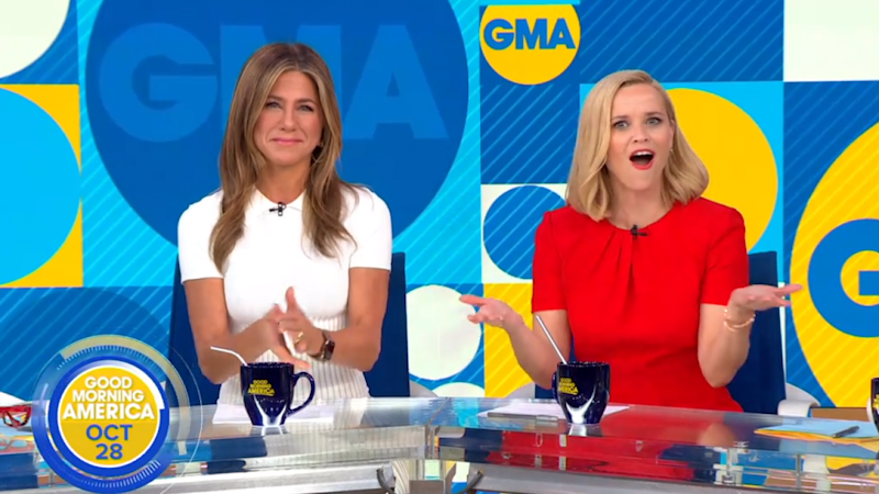 Jennifer Aniston and Reese Witherspoon Are Real-Life Morning Show Anchors on 'GMA'