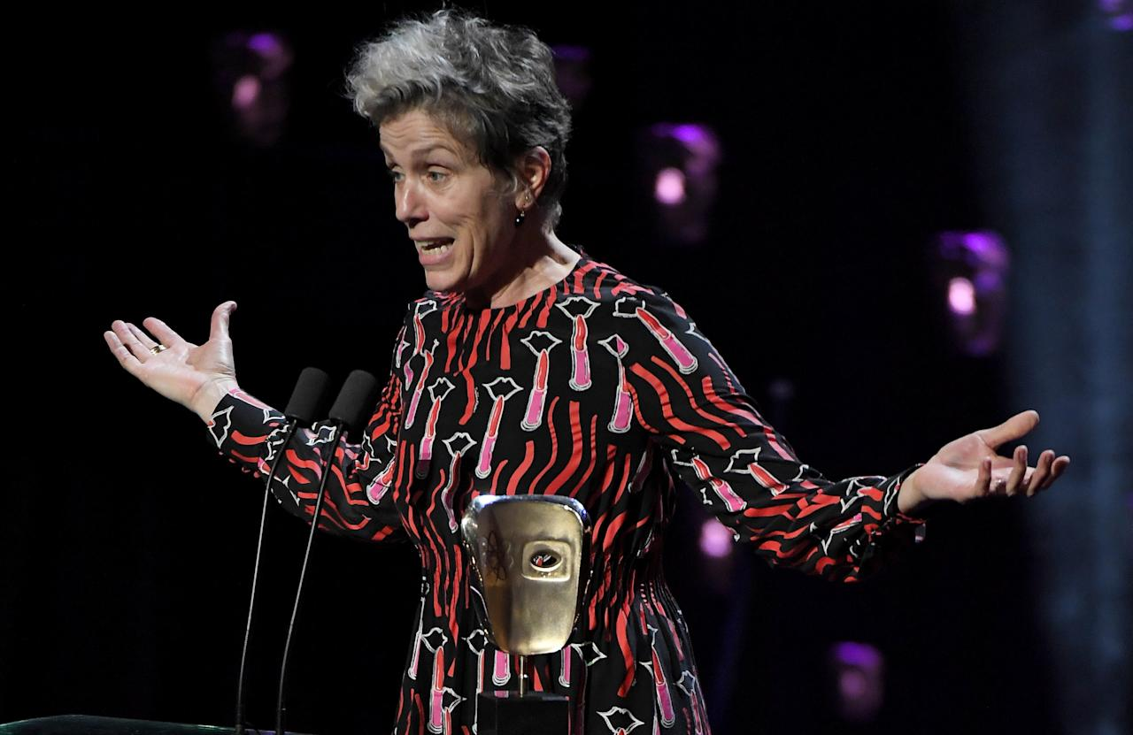 <p>Frances McDormand wins Leading Actress for 'Three Billboards Outside Ebbing, Missouri'. </p>