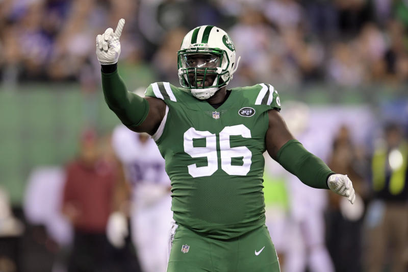 New York Jets defensive end Muhammad Wilkerson won't play Sunday due to a coach's decision. (AP)