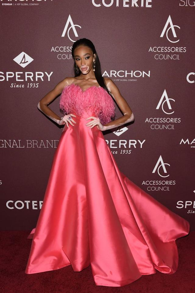 <p><strong>10 June</strong> Winnie Harlow opted for feathers and volume in a pink gown by Alexis Mabille as she attended the Ace Awards.</p>