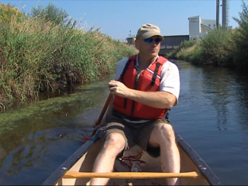 Tim Vickers canoeing in Marsh Creek during his time as ACAP Saint John's executive director.  (CBC - image credit)