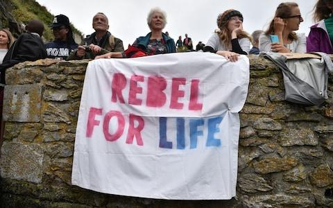 <span>Thunberg's supporter's gathered at Devil's Point, Plymouth this afternoon</span> <span>Credit: Ben Birchall/PA </span>