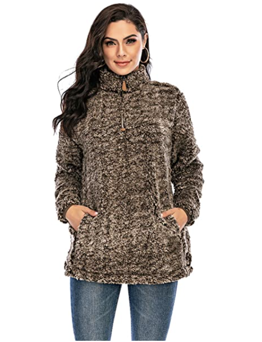 Women's Sherpa Fuzzy Fleece Sweatshirt in Brown. Image via Amazon.