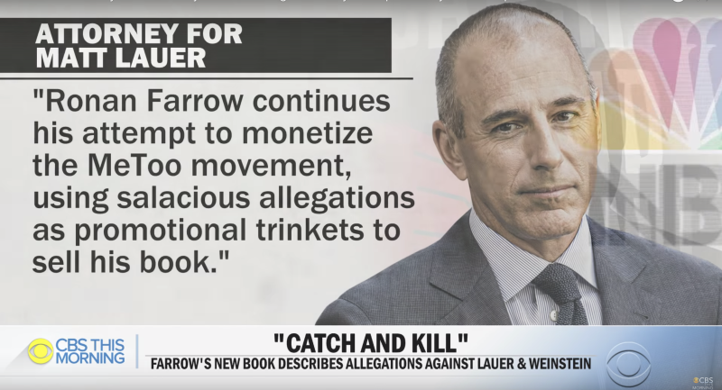 Matt Lauer has released a new statement about Ronan Farrow's book Catch and Kill, which comes out Oct. 15. (Screenshot: CBS This Morning)
