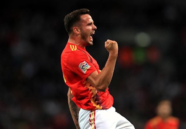 Spain's Saul Niguez celebrates scoring his side's first goal