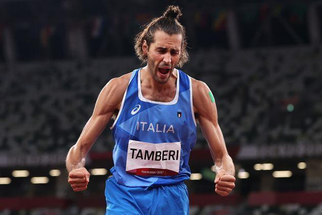TOKYO, JAPAN - AUGUST 01: Gianmarco Tamberi of Team Italy reacts during the Men's High Jump Final on day nine of the Tokyo 2020 Olympic Games at Olympic Stadium on August 01, 2021 in Tokyo, Japan. (Photo by Cameron Spencer/Getty Images) (Photo: Cameron Spencer via Getty Images)