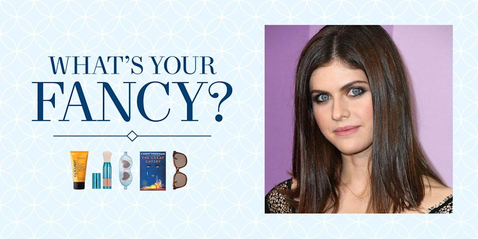 """<p class=""""body-text""""><em>In</em> <em>our new series, """"What's Your Fancy?,"""" we ask expert tastemakers to share the little luxuries essential to their day-to-day lives. </em> </p><hr><p class=""""body-dropcap"""">Alexandra Daddario spent much of fall 2020 quarantined at the Four Seasons Maui shooting <a href=""""https://www.townandcountrymag.com/leisure/arts-and-culture/a37001918/how-to-watch-the-white-lotus/"""" rel=""""nofollow noopener"""" target=""""_blank"""" data-ylk=""""slk:The White Lotus"""" class=""""link rapid-noclick-resp""""><em>The White Lotus</em></a>. The HBO series focuses on the 1% on vacation and the inconveniences they string together into perceived problems. Daddario plays Rachel, a fledgling journalist 30-something on her honeymoon with her poorly behaved new husband (played by Jake Lacy). Over the course of the trip, their relationship falters, with Rachel debating her choice in spouse as her husband embarks on an endless crusade to switch the couple to the """"better"""" hotel suite he feels is rightfully theirs. <br></p><p class=""""body-text"""">""""It's satirical,"""" Daddario says of the show. """"I'm not a comedian, but this humor, I think comes from reality. A lot of life, as dark and tragic and horrible as it [can be], is very funny.""""</p><p class=""""body-text"""">Given that Daddario spent months in Hawaii, she curated a distinct group of items she couldn't have lived without while filming the series. Below, find out all about Daddario's beach essentials and why she chose this moment to re-read <em>The Great Gatsby.</em><em><br></em></p>"""