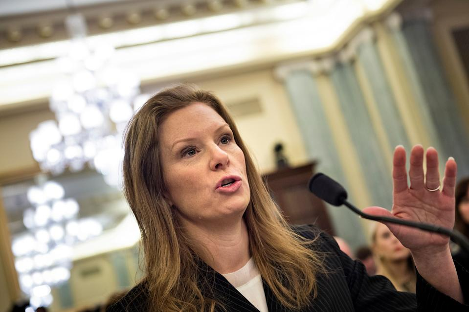 Monika Bickert, Facebook's Head of Global Policy Management, speaks during a hearing of the Senate Commerce, Science, and Transportation committee on Capitol Hill January 17, 2018 in Washington, DC. / AFP PHOTO / Brendan Smialowski        (Photo credit should read BRENDAN SMIALOWSKI/AFP/Getty Images)