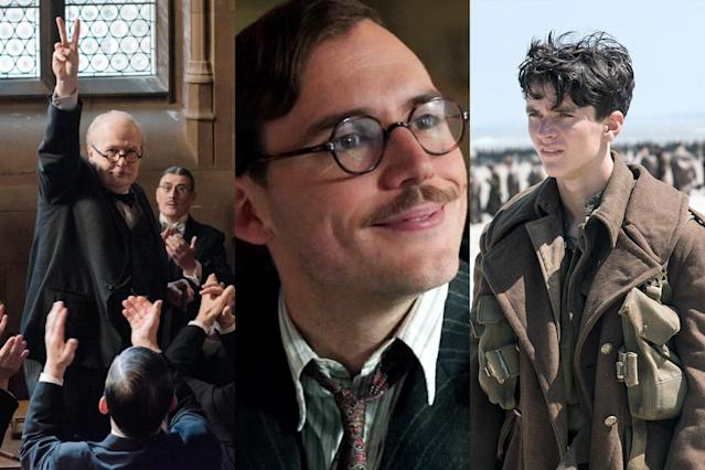 <p>If you skimmed over the pivotal Battle of Dunkirk in history class, a trio of 2017 films can fill you in on what you missed. Christopher Nolan's <em>Dunkirk</em> provides an immersive recreation of what British soldiers experienced before a daring evacuation brought them home to safety. Meanwhile, Joe Wright's Winston Churchill biopic <em>Darkest Hour</em> depicts England's wartime prime minister ordering said evacuation, and Lone Scherfig's overlooked <em>Their Finest</em> stirringly illustrates how that rescue revived the nation's fighting spirit. (Photo: Focus Features/STX Entertainment/Warner Bros. Pictures /Courtesy Everett Collection) </p>