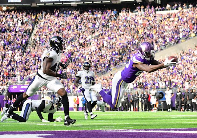 <p>Minnesota Vikings running back Latavius Murray (25) dives across the goal line for a touchdown at the end of a 29-yard run during a NFL game between the Minnesota Vikings and Baltimore Ravens on October 22, 2017 at U.S. Bank Stadium in Minneapolis, MN.The Vikings defeated the Ravens 24-16.(Photo by Nick Wosika/Icon Sportswire via Getty Images) </p>