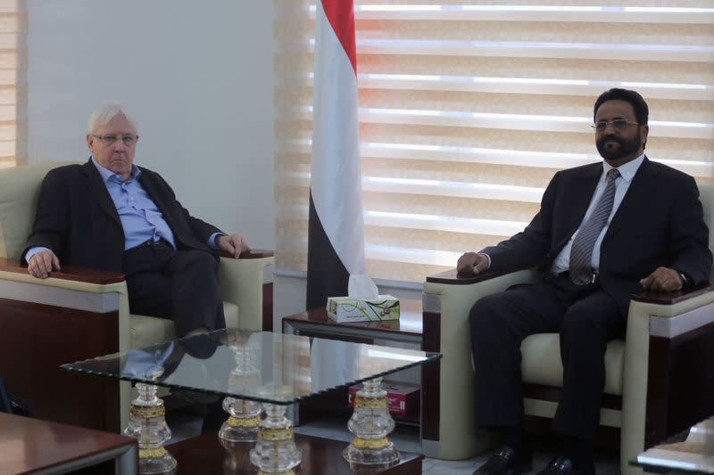 United Nations Special Envoy to Yemen Griffiths, meets with the Governor of Marib, Major General Al-Arada, in Marib