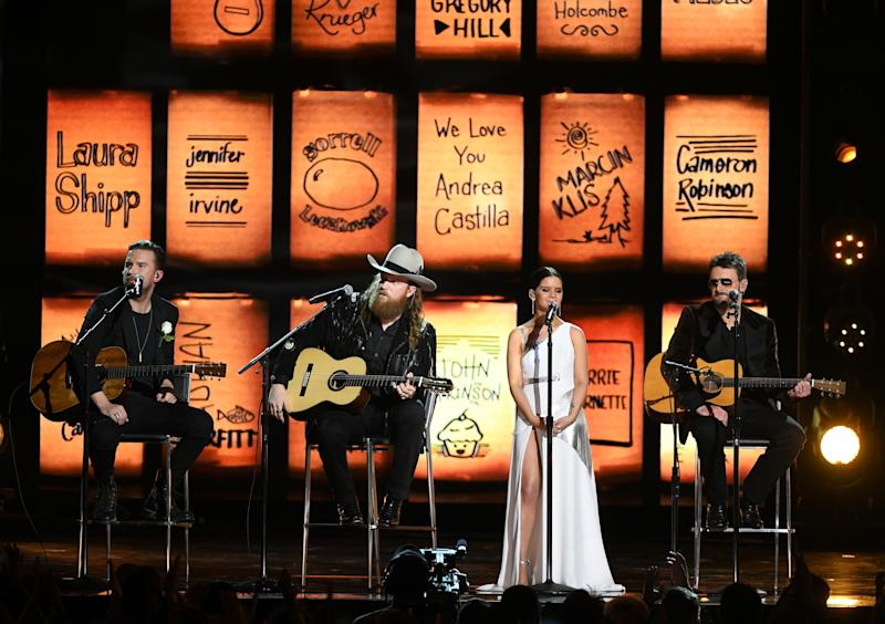 Recording artists T.J. Osborne, John Osborne, Maren Morris and Eric Church perform onstage during the 60th AnnualGrammy Awards at Madison Square GardenSunday in New York City. (Kevin Winter/Getty Images)