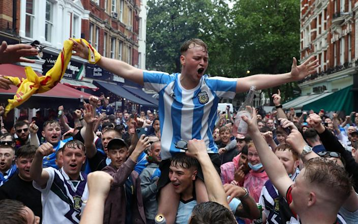 Scotland fans gather in Leicester Square before the UEFA Euro 2020 match between England and Scotland later tonight - Kieran Cleeves/PA Wire