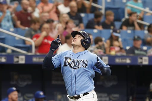 Tampa Bay Rays Avisail Garcia reacts after hitting a home run against the Toronto Blue Jays during the seventh inning of a baseball game on Sunday Sept. 8, 2019, in St. Petersburg, Fla. (AP Photo/Scott Audette)