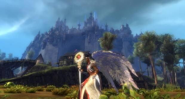A still from Guild Wars 2, a game set in a fantasy world that changes based on the players' actions.