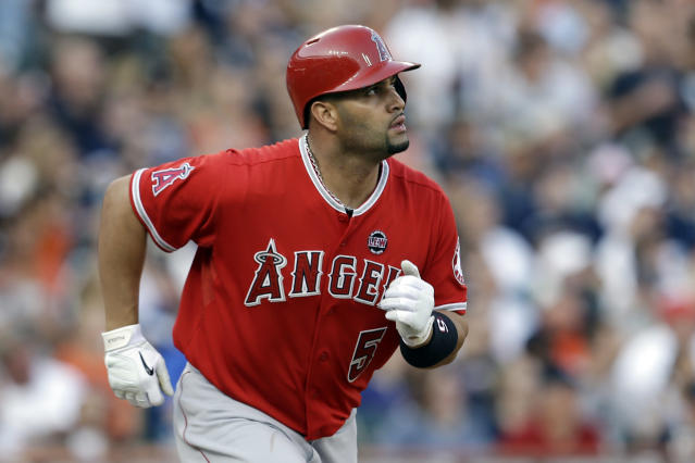 FILE - In this June 26, 2013, file photo, Los Angeles Angels' Albert Pujols watches after batting against the Detroit Tigers in the third inning of a baseball game in Detroit. Pujols sued Jack Clark on Friday, Oct. 4, 2013, over comments on a local radio show accusing the three-time NL MVP of using steroids. The lawsuit between former Cardinals stars was filed in Circuit Court in St. Louis County, where Clark lives. It seeks unspecified damages and asks for a determination and declaration that Clark's statements are false. (AP Photo/Paul Sancya, File)