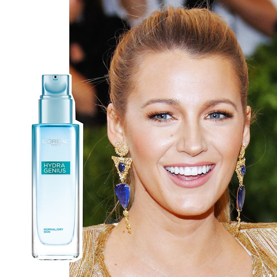 """<p>The day Blake Lively doesn't glow with the intensity of a thousand suns, well, the world might just be ending. Last night's radiance came from <a rel=""""nofollow"""" href=""""http://www.ulta.com/hydra-genius-daily-liquid-care-normaloily-skin?mbid=synd_yahoobeauty&productId=xlsImpprod15541131"""">L'Oréal Paris's Hydra Genius Moisturizer</a> ($17.99), which makeup artist Kristofer Buckle used to create a moisturized, dewy finish. It contains <a rel=""""nofollow"""" href=""""http://www.glamour.com/story/whats-maxi-lip-the-best-lip-pl?mbid=synd_yahoobeauty"""">hyaluronic acid</a>—of course. Blake gets it.</p>"""