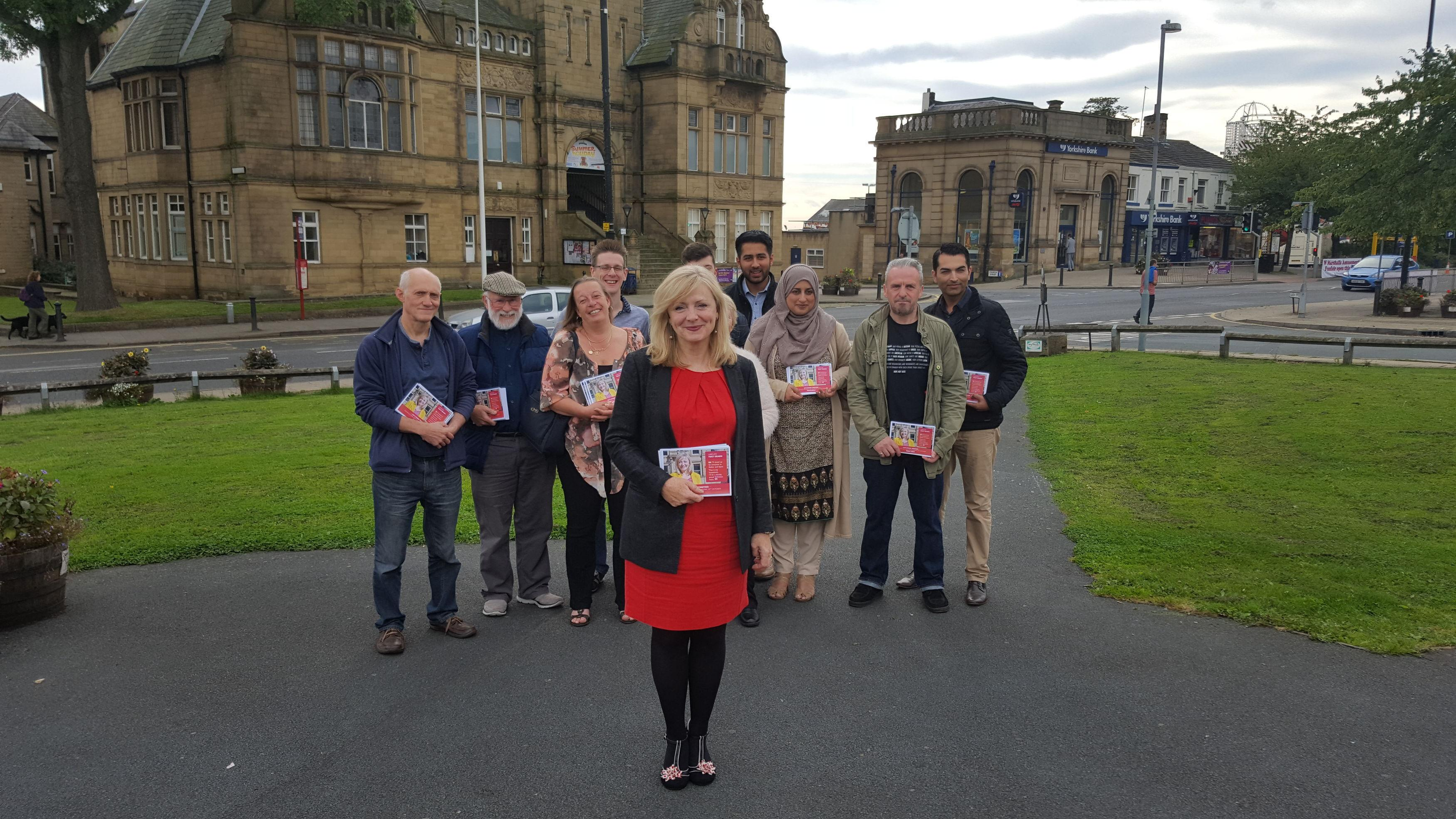 Former Coronation Street actress and Labour candidate Tracy Brabin on the by-election campaign trail in Cleckheaton ahead of next month's Batley and Spen by-election.