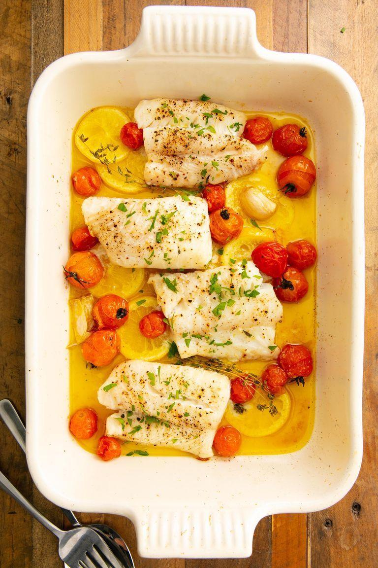"""<p>If you're someone who's afraid of cooking seafood at home, cod is the fish for you. It's basically impossible to mess up: It cooks quickly, is hard to overcook (unless you really forget about it), and is easy to flavour however you want.</p><p>Get the <a href=""""https://www.delish.com/uk/cooking/recipes/a29733946/best-baked-cod-fish-recipe/"""" rel=""""nofollow noopener"""" target=""""_blank"""" data-ylk=""""slk:Baked Cod"""" class=""""link rapid-noclick-resp"""">Baked Cod</a> recipe.</p>"""