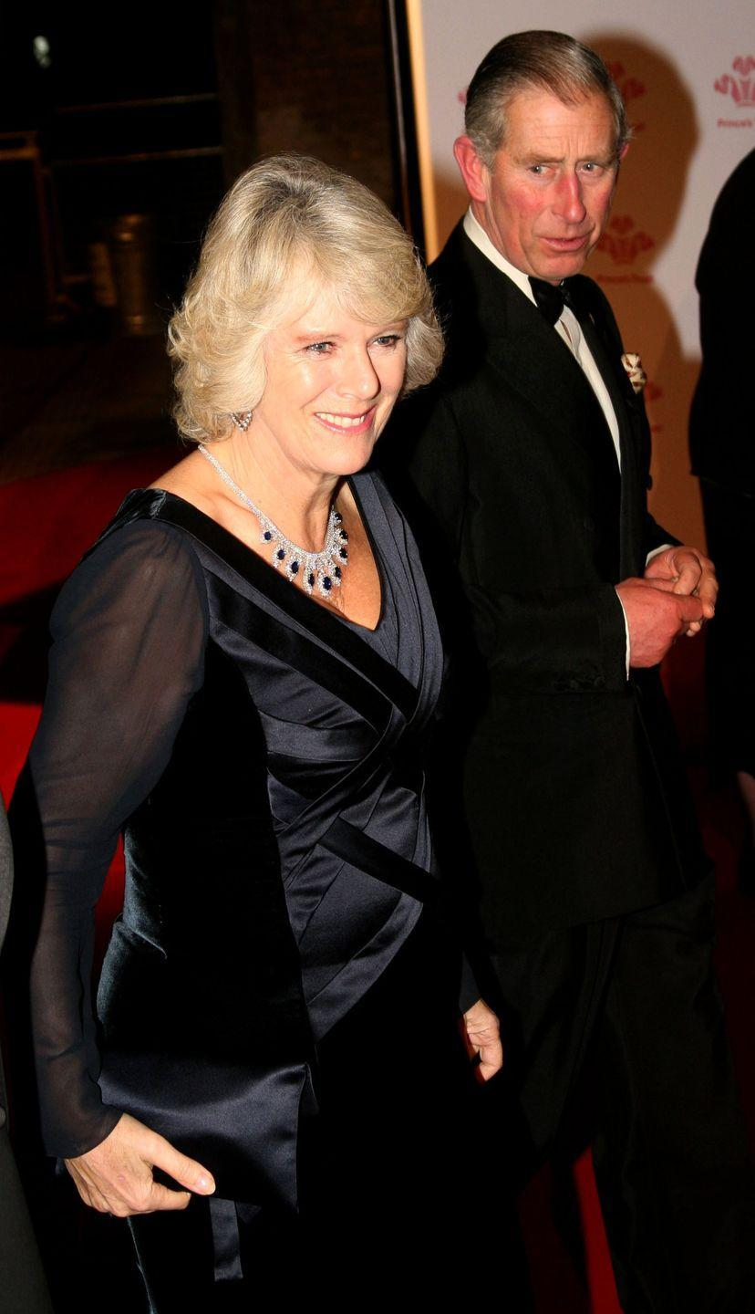<p>Duchess Camilla reportedly received this sapphire and diamond necklace (part of a parure) from the Saudi royal family as a wedding present.</p>
