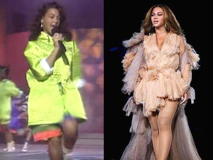 """Beyoncé performing on """"Star Search"""" with Girls Tyme in 1993, and Beyoncé onstage during the On The Run II Tour in 2018."""