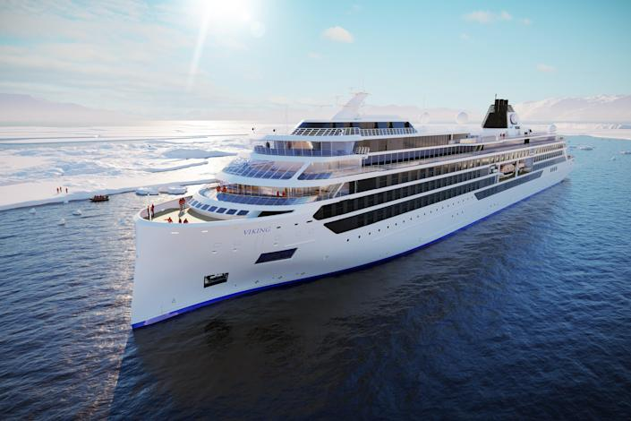 This is a rendering of one of the Viking cruise ships currently under construction that will start sailing the Great Lakes in 2022.