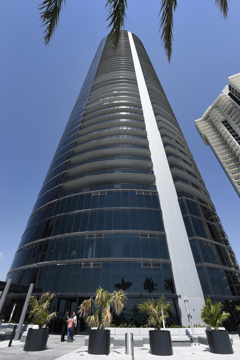 A general view of the Porsche Design Tower on Sunny Isles Beach, Florida, on May 9, 2017. The luxury condominiums are the only one of their kind with a patented car elevator known as the Dezervator, named for Developer Gil Dezer, allowing you to park you vehicle inside your home. / AFP PHOTO / RHONA WISE (Photo credit should read RHONA WISE/AFP via Getty Images)