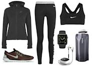 <p>If you're a fitness traditionalist, running can be a rewarding way to burn off those extra holiday calories. Keep warm during winter runs with a simple yet chic hooded zip-up, like this one from Nike—and don't forget to pump some inspiring tunes with a wireless headset by Jaybird.</p>