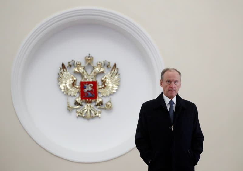 FILE PHOTO: Secretary of Russia's Security Council Nikolai Patrushev leaves after a meeting of President Vladimir Putin with U.S. National Security Adviser John Bolton at the Kremlin in Moscow
