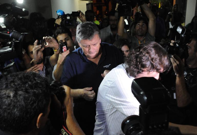 The CEO of FIFA partner company Match Hospitality, Raymond Whelan, arrives at a police station in Rio de Janeiro after being arrested accused of leading a network that illegal sold game passes, on July 7, 2014 (AFP Photo/Tasso Marcelo)