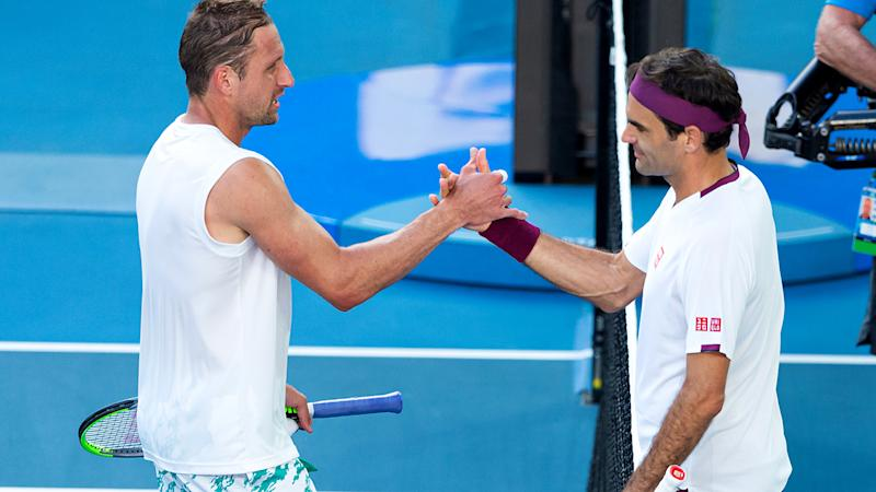 Roger Federer, pictured here shaking hands with Tennys Sandgren after their Australian Open clash.