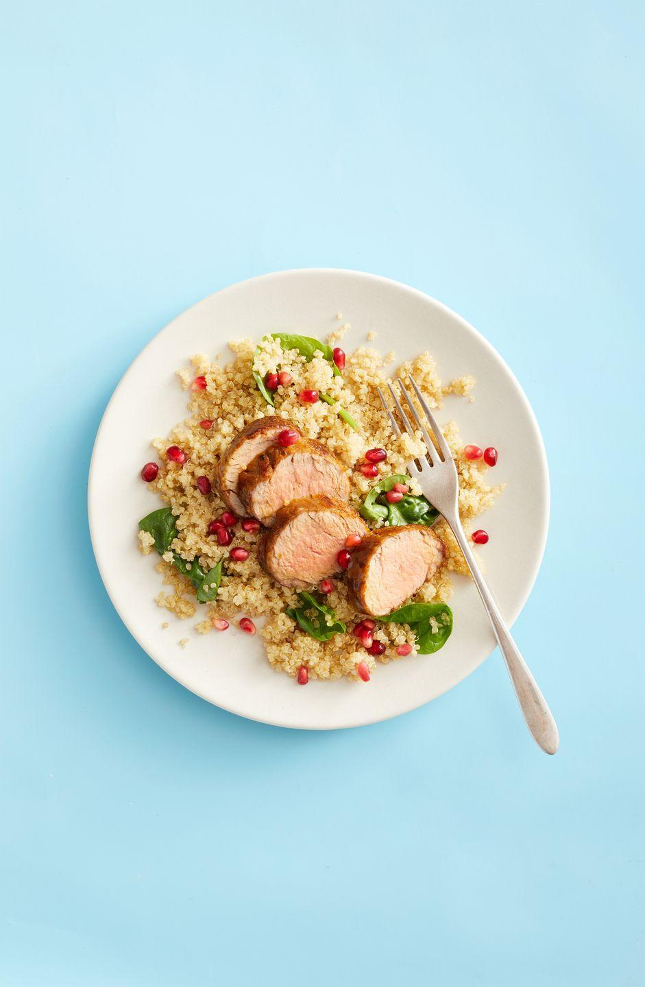 """<p>Pork tenderloin served atop a bed of potatoes may feel too heavy (and bland!) — which is why quinoa is a delightful swap here. Pepper your pilaf with pomegranate seeds for an unexpected touch of texture.</p><p><a href=""""https://www.goodhousekeeping.com/food-recipes/a30392190/pork-tenderloin-with-quinoa-pilaf-recipe/"""" rel=""""nofollow noopener"""" target=""""_blank"""" data-ylk=""""slk:Get the recipe for Pork Tenderloin With Quinoa Pilaf »"""" class=""""link rapid-noclick-resp""""><em>Get the recipe for Pork Tenderloin With Quinoa Pilaf »</em></a></p>"""