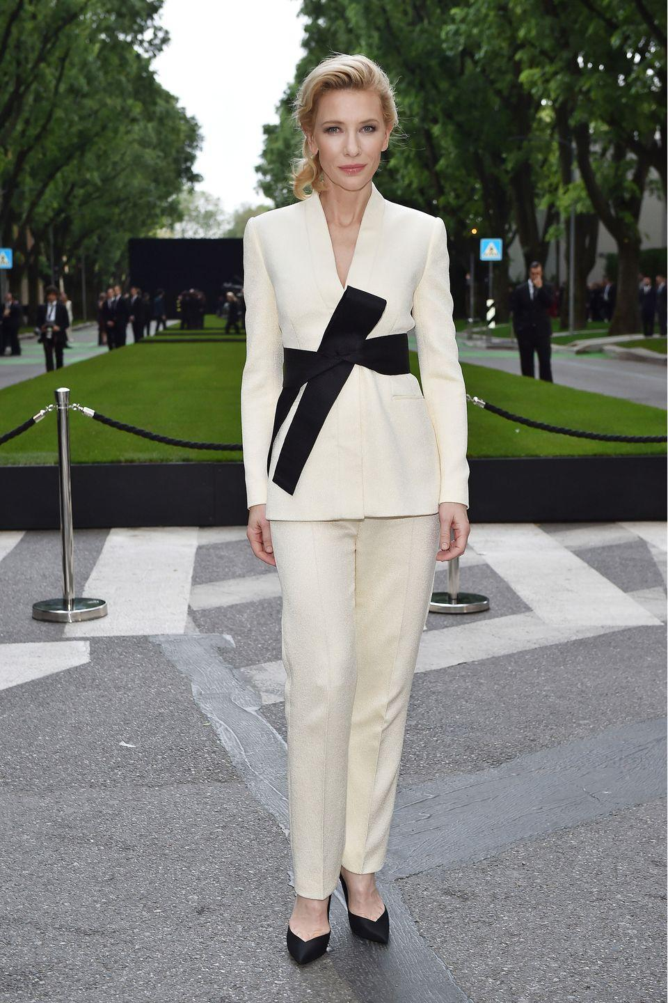 <p>Both Mulan and Cate Blanchett prove that belted jackets and pants can be just as ladylike as ball gowns.</p>
