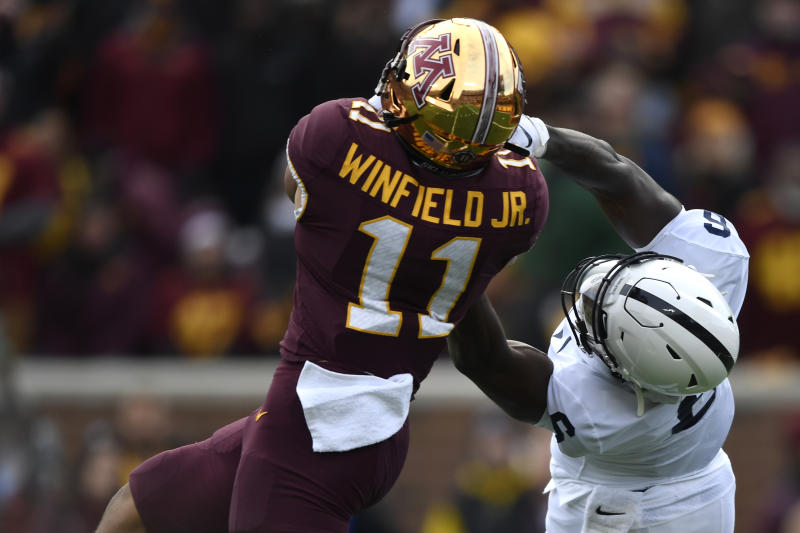 Minnesota DB Antoine Winfield Jr. hauled in two interceptions against Penn State and has an excellent chance to get his hands on more footballs this week. (Photo by Hannah Foslien/Getty Images)