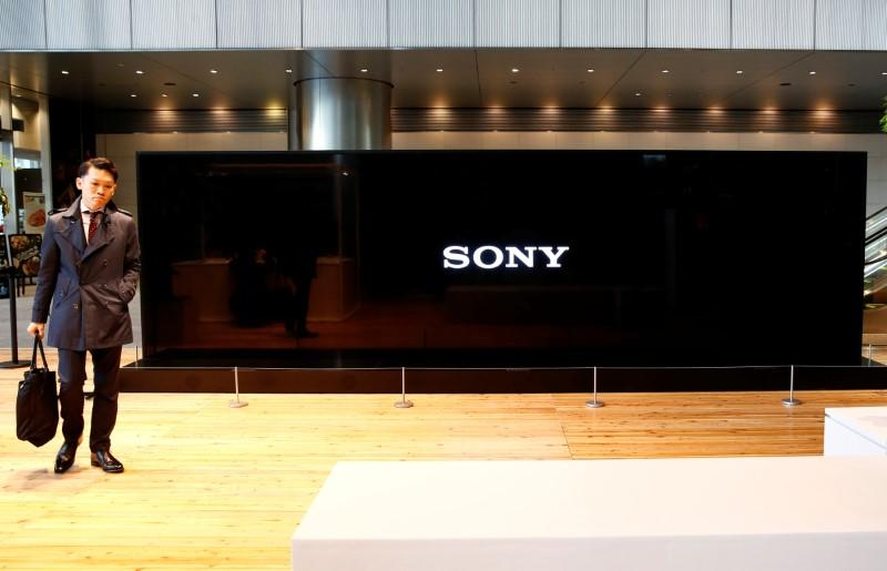 Sony Corp's logo is seen on its Crystal LED Integrated Structure display at its headquarters in Tokyo