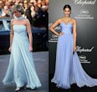 "<p>When Princess Diana stepped out at the Cannes Film Festival in a light blue Catherine Walker chiffon gown, people immediately drew similarities to <a href=""https://www.marieclaire.co.uk/fashion/10-of-grace-kelly-s-most-beautiful-on-screen-outfits-21124"" rel=""nofollow noopener"" target=""_blank"" data-ylk=""slk:a gown worn by Grace Kelly"" class=""link rapid-noclick-resp"">a gown worn by Grace Kelly</a> decades before. But in 2014, actress Sonam Kapoor's similar ballgown was reminiscent of the late Lady Di. </p>"